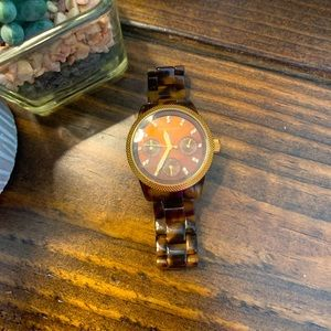 Michael Kors Tortoise Shell Watch w/ Gold Accents
